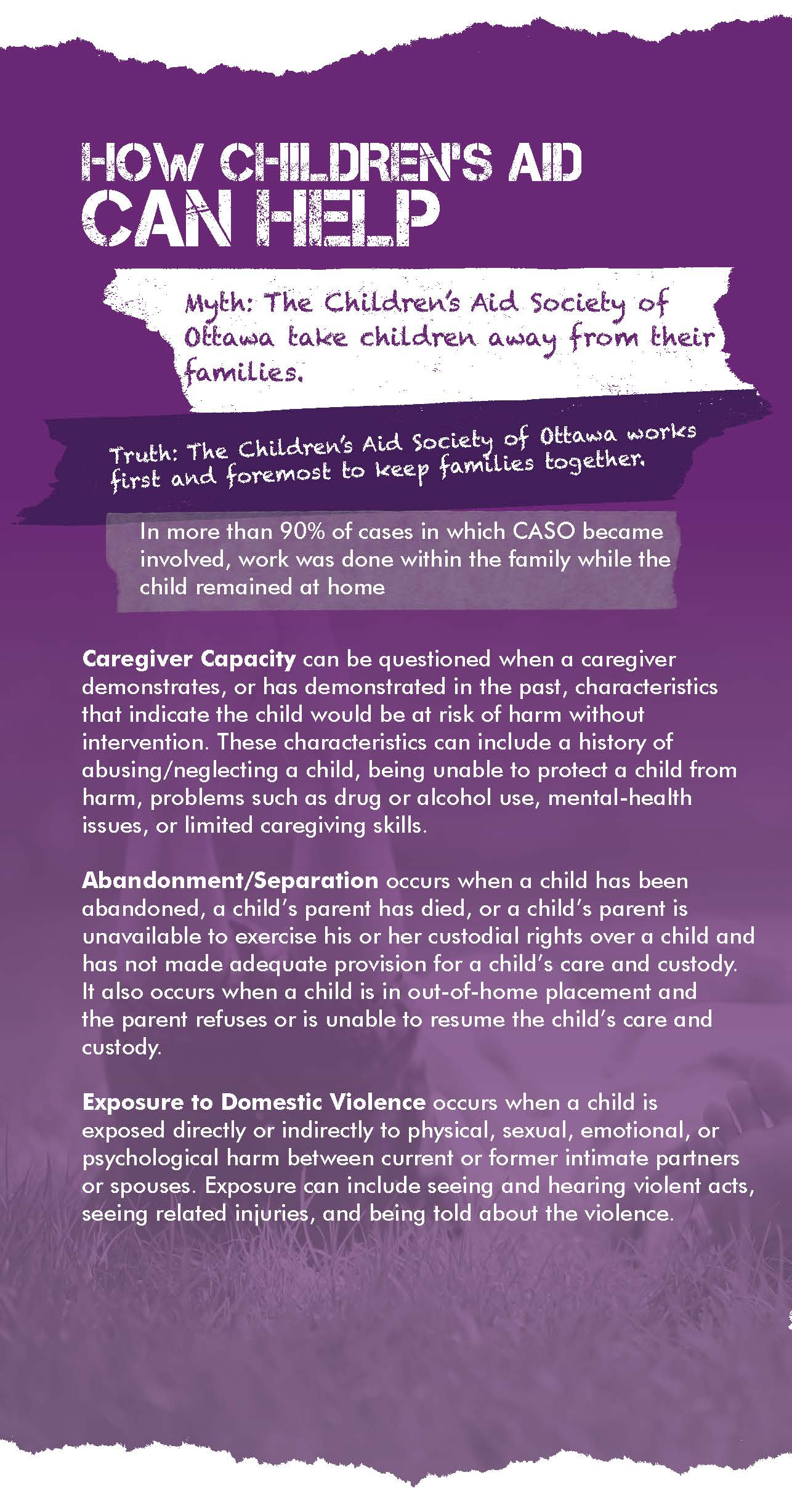 Web Update - How Childrens Aid Can Help